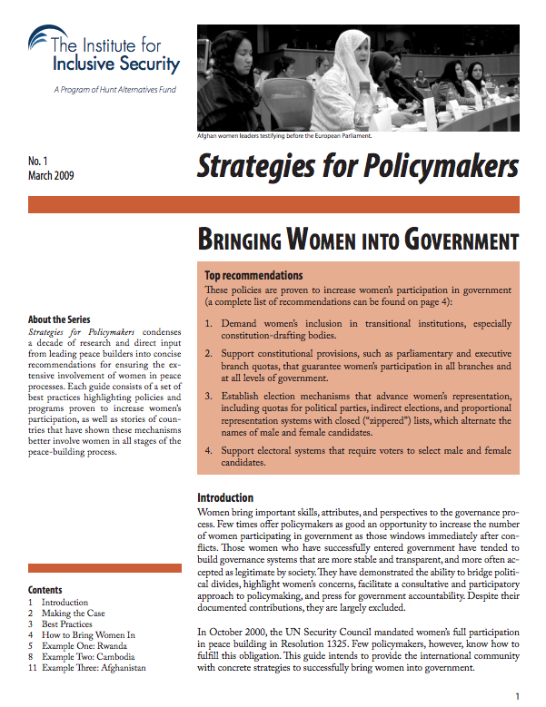 Strategies for Policymakers: Bringing Women into Government