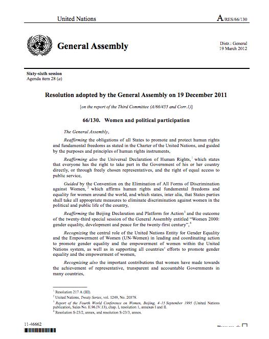 UN Resolution on Women's Political Participation