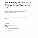 The Increasing Effectiveness of National Gender Quotas, 1990 - 2010