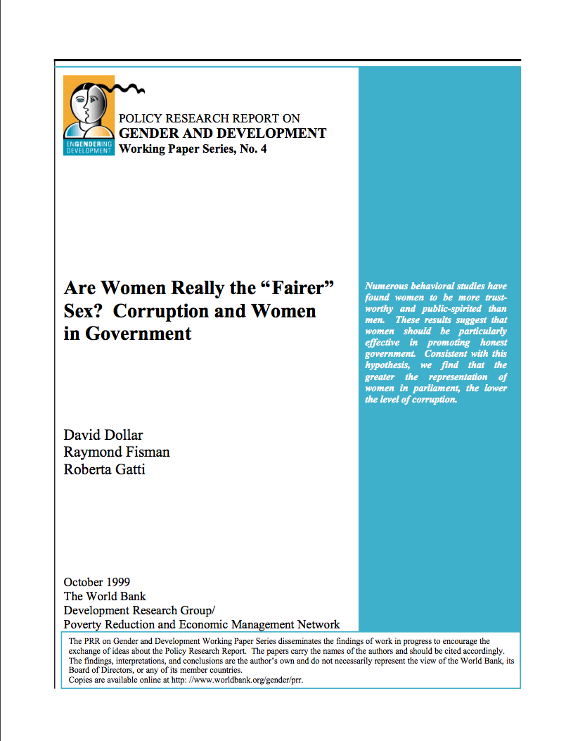 Are Women Really the Fairer Sex? Corruption and Women in Government